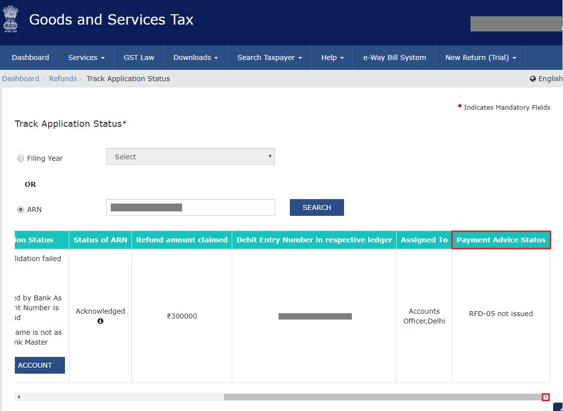 GST Refund - Details of Refund Application