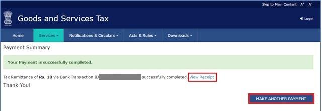 GST Payment Online - Payment Receipt