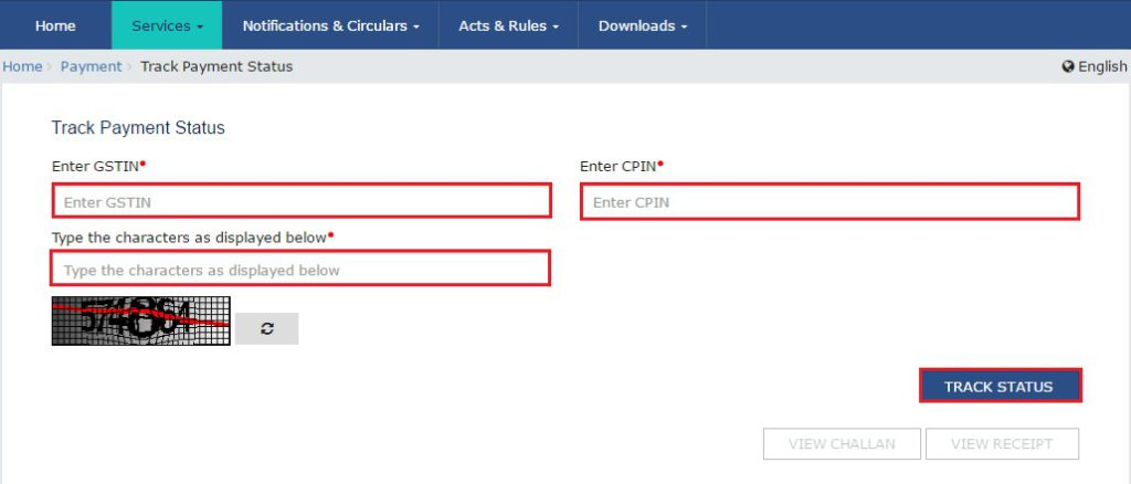 GST Payment Status - Enter GSTIN, CPIN