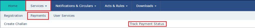 GST Payment Status- GST Portal