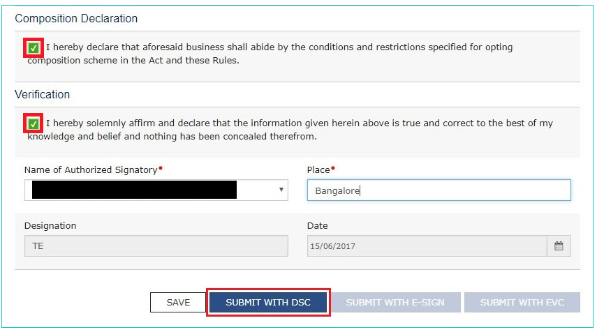 GST Portal - Opt for Composition Scheme - Submit Application
