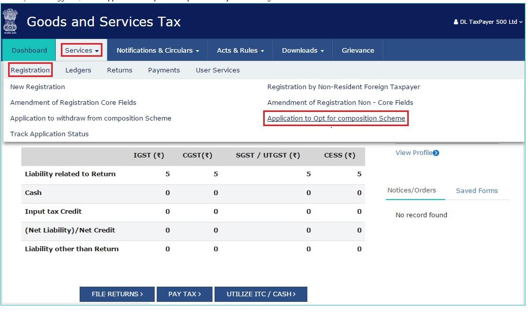 GST Portal - Opt for Composition Scheme