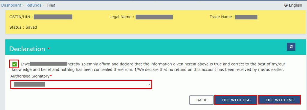 GST Refund - Submit application with DSC or EVC