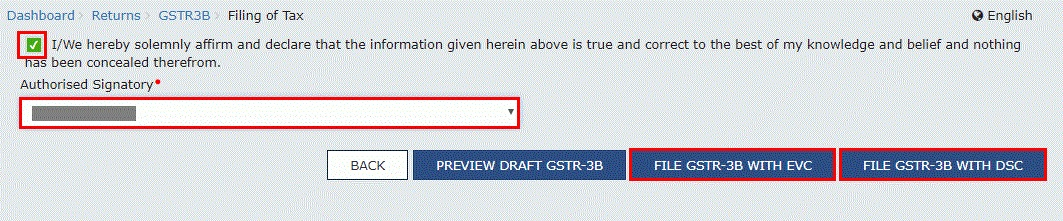 GSTR-3B: File with EVC or DSC