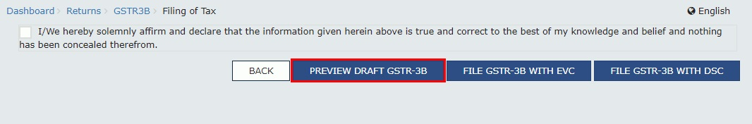 GSTR-3B - Preview Draft Return