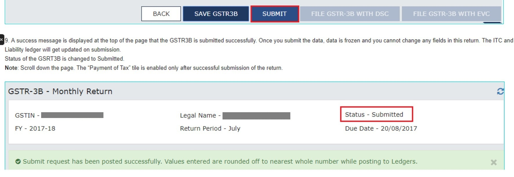 Revise GSTR-3B - status submitted