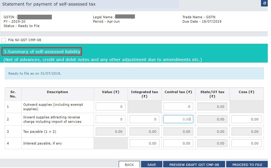 GST CMP-08 - Self-assessed tax liability