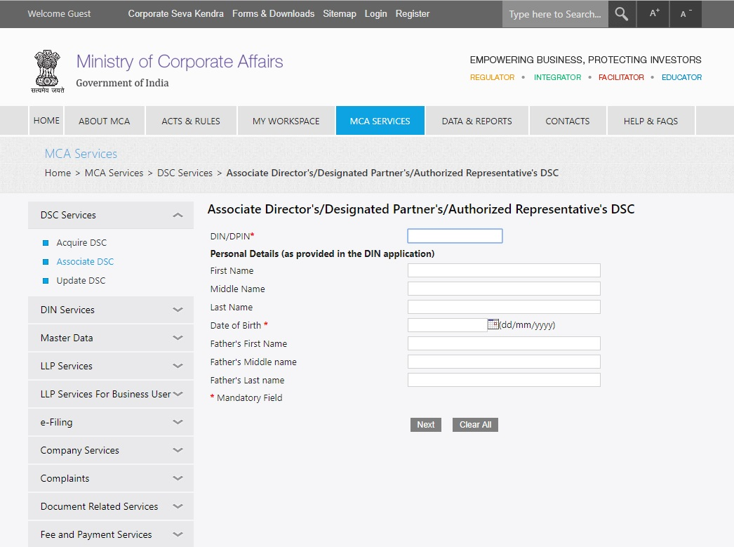 MCA-Associate-DSC-Add-details