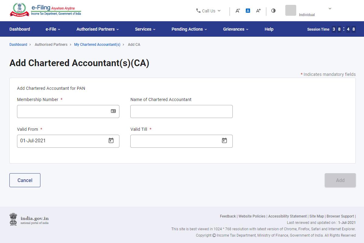 www.incometax.gov.in - Add CA