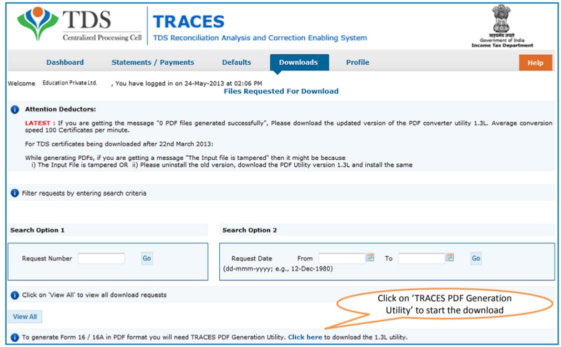 TRACES - Download PDF Generation Utility