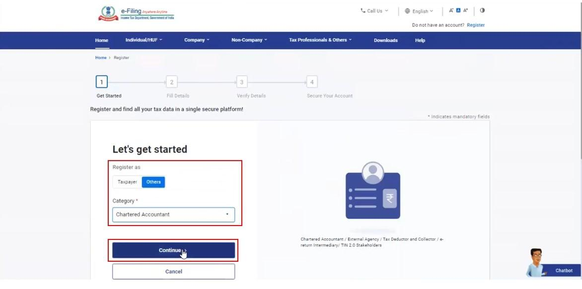 www.incometax.gov.in - Register as CA
