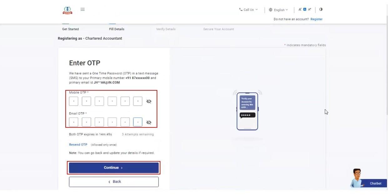 www.incometax.gov.in - Enter OTP Details