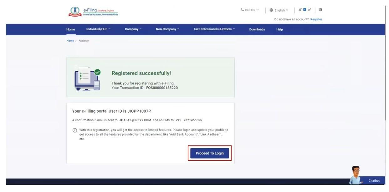 www.incometax.gov.in - Account Creation Message