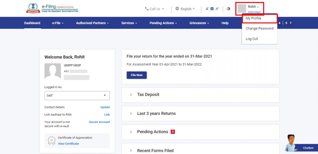 www.incometax.gov.in - My Profile
