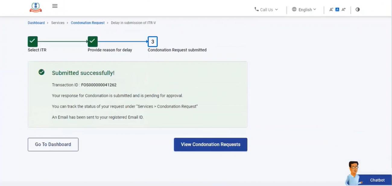 www.incometax.gov.in - Success Message for Condonation Request