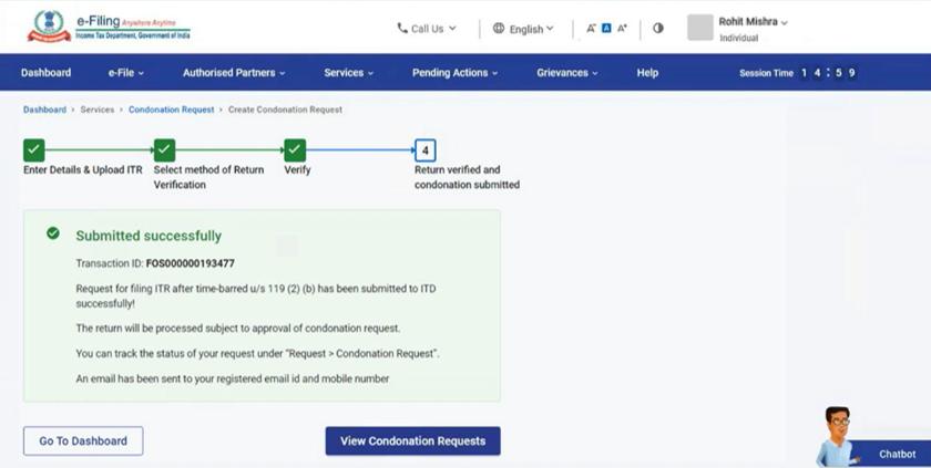 www.incometax.gov.in - eVerify Condonation Request