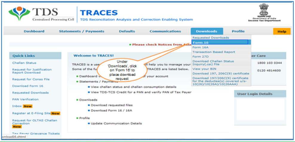 Form 16 option from TRACES Dashboard