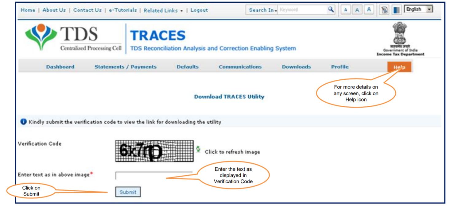 TRACES - Enter captcha code