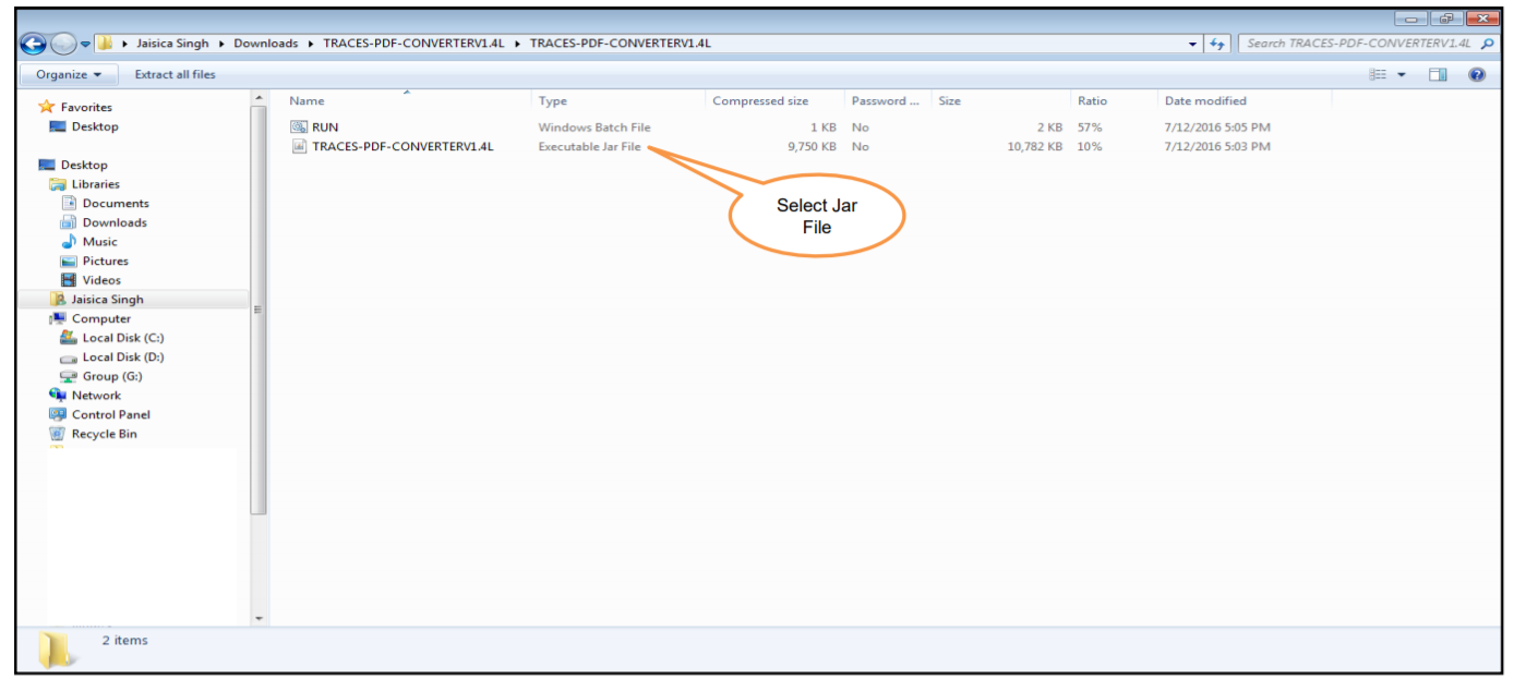 TRACES - Select the JAR file for Form 16 Part A
