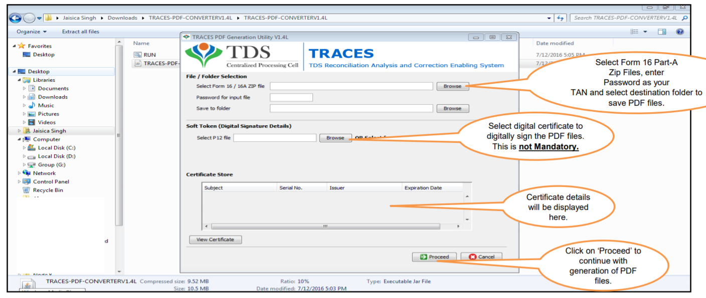 TRACES -Enter Details in the PDF Generation Utility