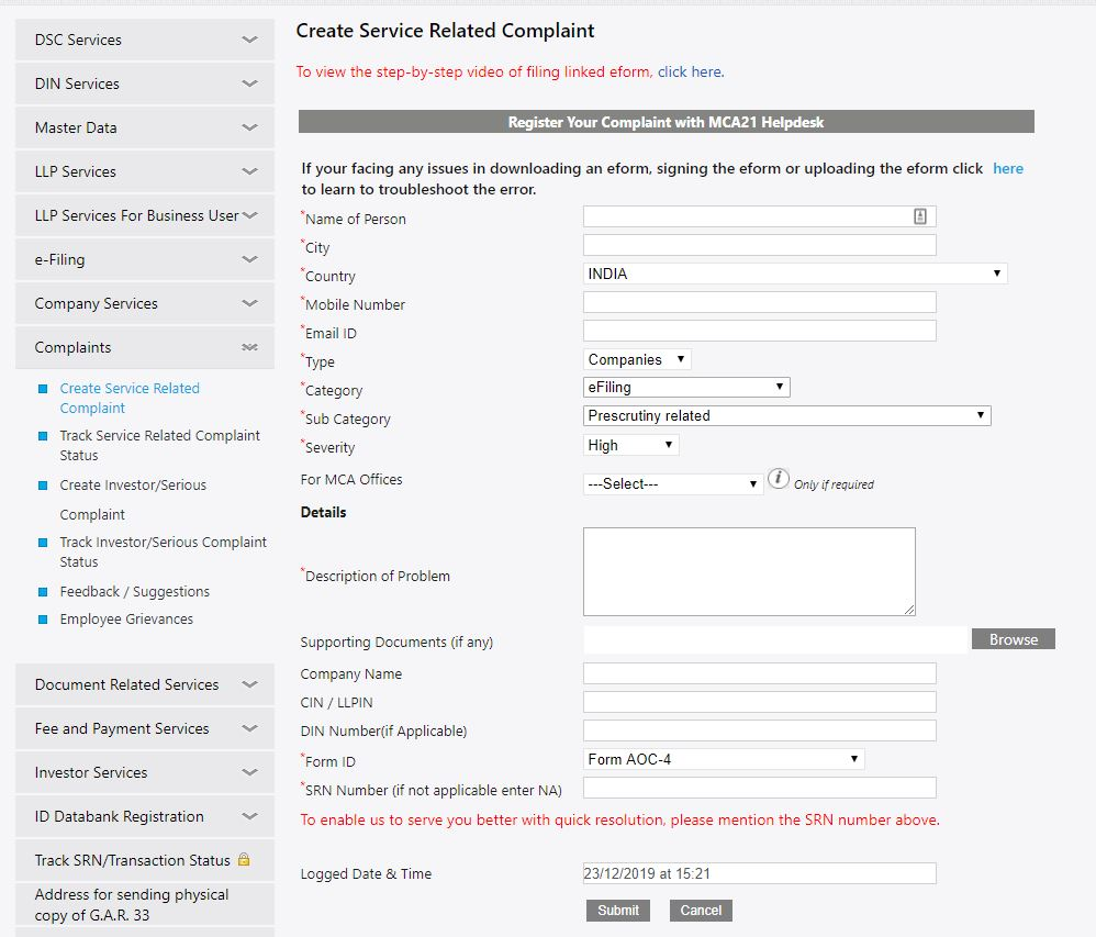 MCA-Portal-Create-Service-Related-Request-Enter-details