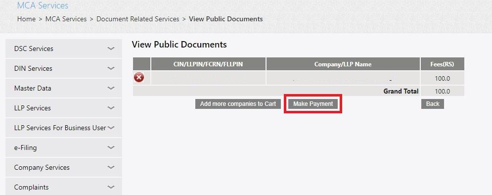 MCA-Portal-View-Public-Documents-Make-Payment
