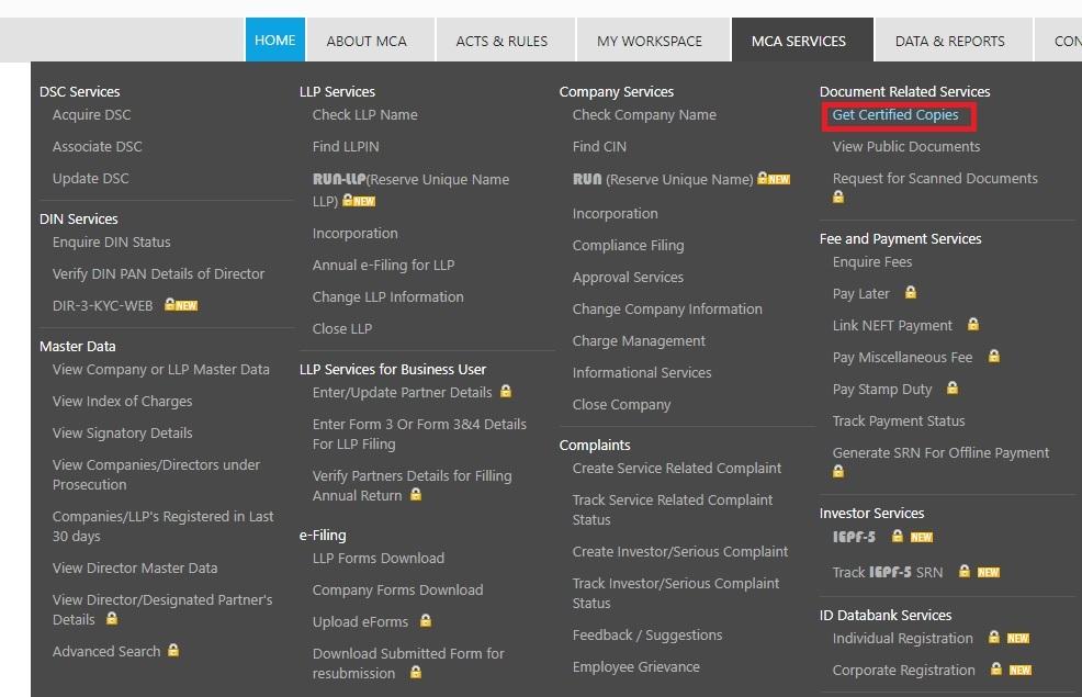 MCA-Portal-Get-Certified-Copies-MCA-Services