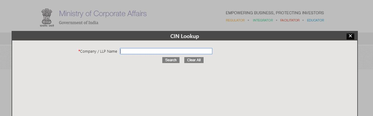 MCA Portal - CIN Lookup