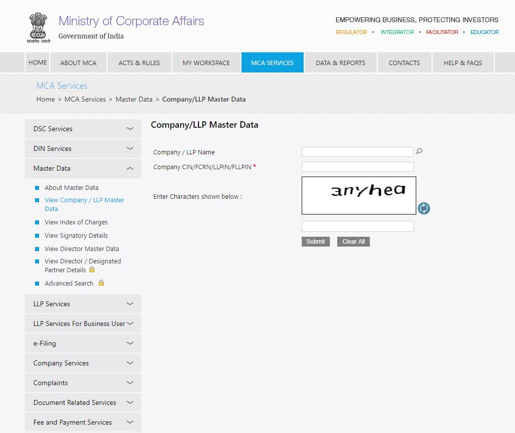MCA-Portal-View-Company-or-LLP-Master-Data-Enter-CIN