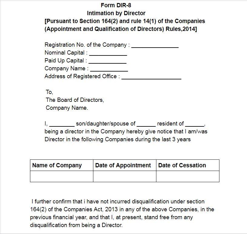 Sample: Form DIR-8