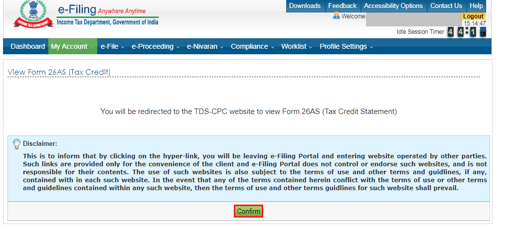 Income Tax e-Filing Portal - View From 26AS (Tax Credit)