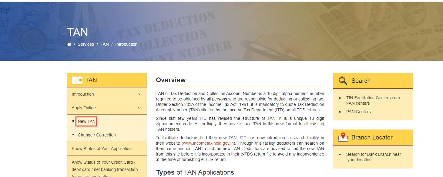 TIN-NSDL - New TAN Option
