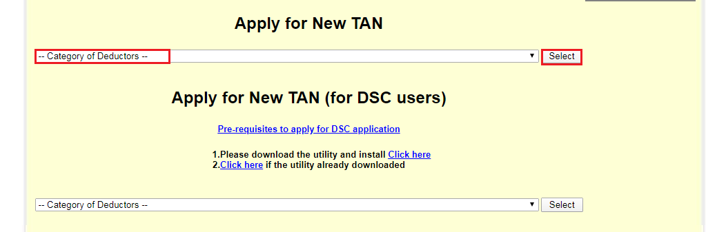TIN-NSDL - Select Category of Deductors
