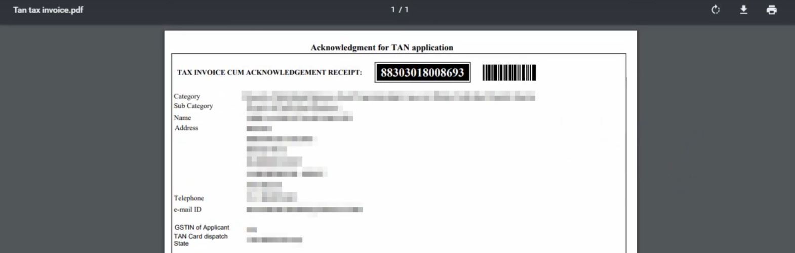 TIN-NSDL - TAN Tax Invoice