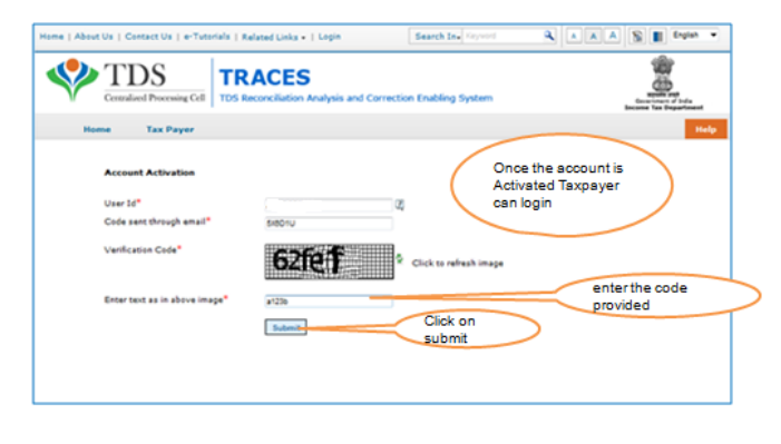 TRACES - Account Activation Page