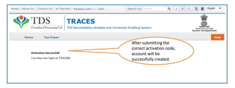 TRACES - Activation Success Message