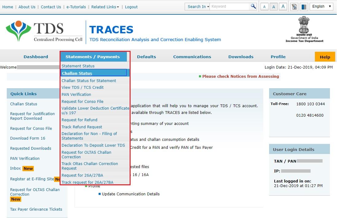 TRACES - Challan Status - Navigate