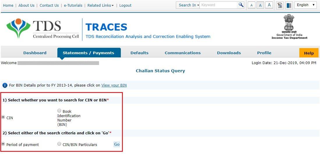 TRACES - Challan Status - Select CIN or BIN