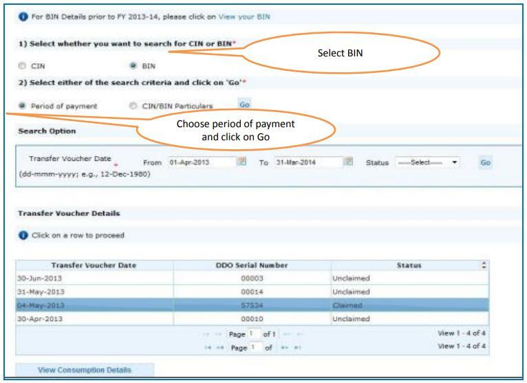 TRACES - Challan Status - Transfer Voucher Details