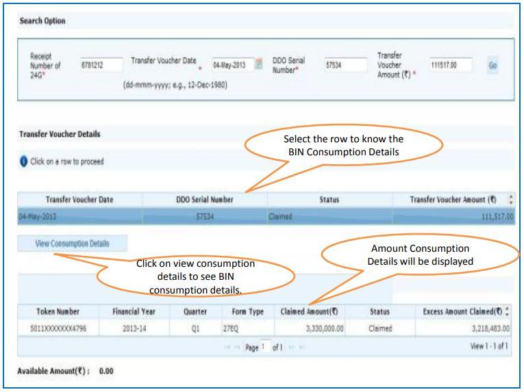 TRACES - Challan Status - View Transfer Voucher Consumption details