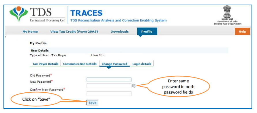 TRACES - Change Password Section