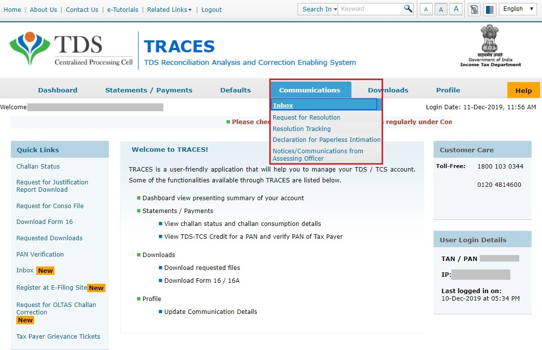 TRACES - Communications-Inbox