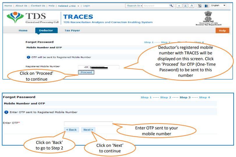 TRACES - Deductor Forgot Password - Enter Mobile OTP