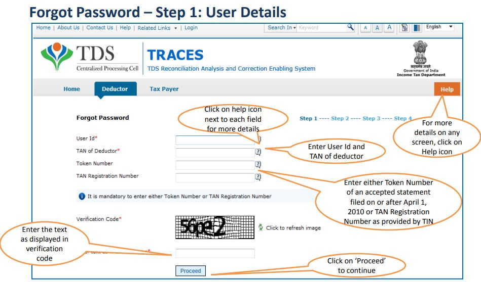 TRACES - Deductor Forgot Password - Enter User ID & TAN