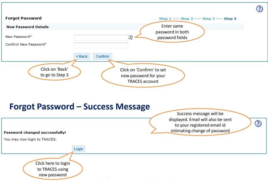 TRACES - Deductor Forgot Password - Reset Password