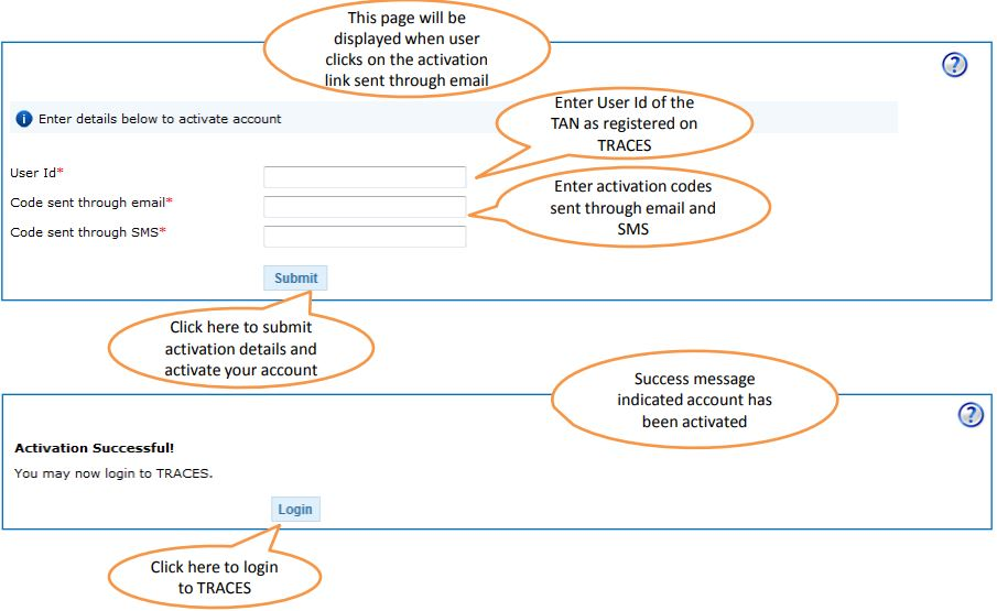 TRACES - Deductor Forgot User Id - Account Activation