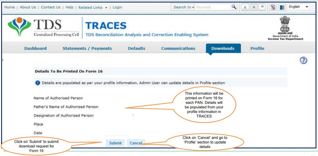 TRACES - Details of Authorised Person