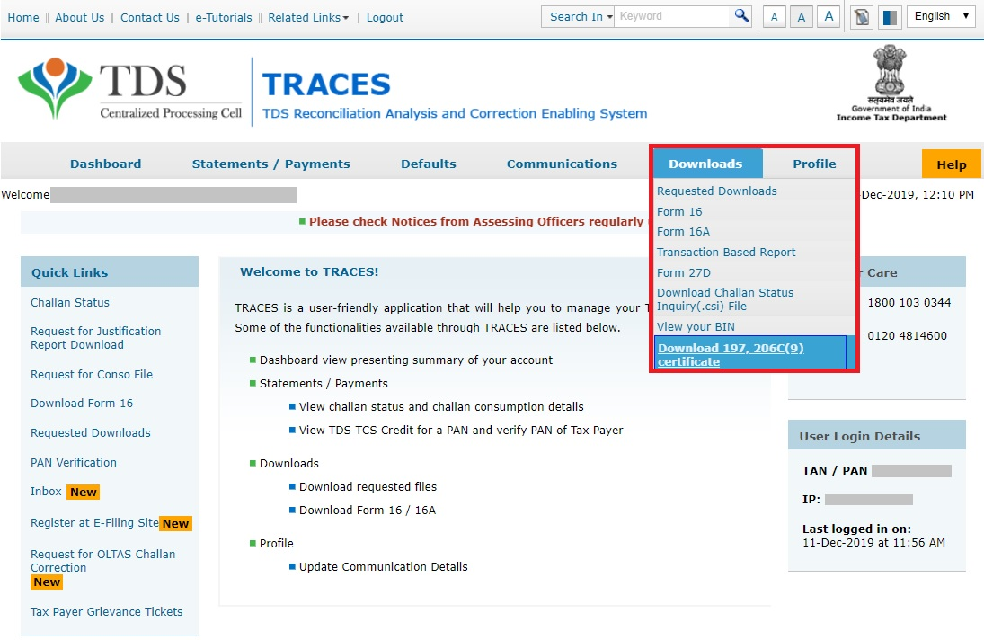 TRACES - Download Certificate Navigation
