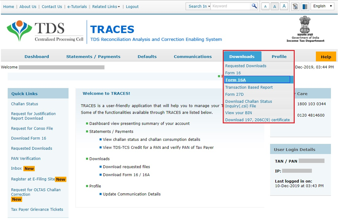 TRACES - Download Form 16A Navigation