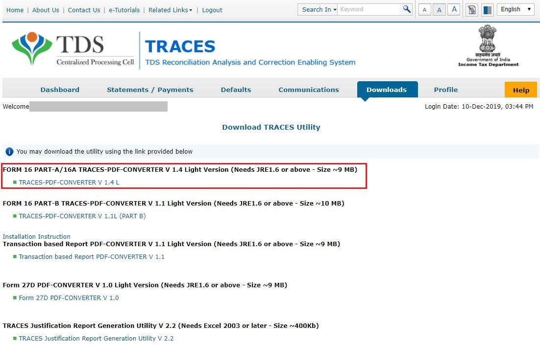 TRACES - Download Form 16A Utility